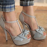 Wholesale Sweet elegant lady bowknot tip binding thin heel sandals SY-C0570 gray - Lovely Fashion