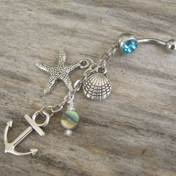 Abalone Anchor Belly Ring, Starfish Nautical Navel Ring, Birthstone Belly Button Ring, Ocean Shell Body Jewelry, Abalone Navel Ring