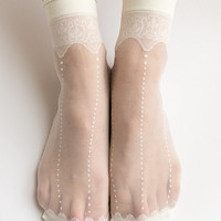 Women New Hezwagarcia HOT Sheer Crwon Cover Lace See Through Casual Ivory Ankle Socks Stocking Hosiery