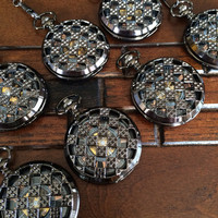Groomsmen Pocket Watch - Set of 7 Black Winding Pocketwatch with vest chain Wedding gift