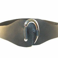 HANDMADE BLACK COWHIDE SILVER CURVE BELT | cosmichippodesigns - Accessories on ArtFire