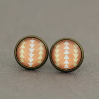 Fake Plugs Stud Earrings : Chevron, Peach, Yellow and White, Earrings, Geometric, Pattern, Retro