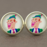 Fake Plugs Stud Earrings : Dapper, Funny, Well-Dressed, 12mm