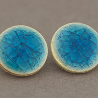 Bright Blue Disc Earrings : Crackle Porcelain Stud Earrings, Artisan Tree, Handmade in Canada, Cobalt, Statement, Pottery, Ceramic