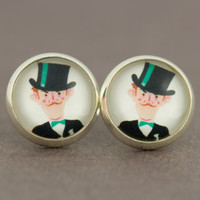 Fake Plugs Stud Earrings : Dapper, Funny, Well-Dressed, Uniform, Top Hat, Moustache, 12mm