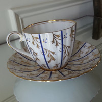 Antique Royal Chelsea ribbed cobalt and gold tea cup and saucer, English bone china tea set, wedding gift
