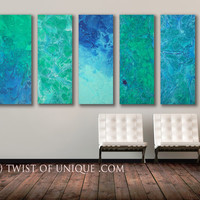 SeaGlass Abstract Painting,  5 panel ORIGINAL (40 Inches x 16 Inches)  Large Abstract Wall art, - Ocean, Sea, Turquoise, white, green, blue