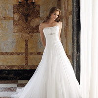Fabulous White A-line Scoop Neckline Wedding Dress-SinoSpecial.com