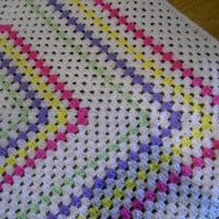Crochet Blanket  Large Square style blanket with  by nannycheryl