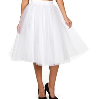 Short White Tulle Skirt