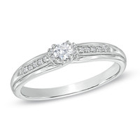 1/8 CT. T.W. Diamond Promise Ring in Sterling Silver - View All Rings - Zales