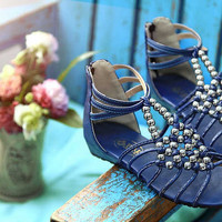 Wholesale 2012 Bohemia style bead wedge low heel large size sandals Z-HSX-D-1 blue - Lovely Fashion