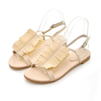 Wholesale Rome classic nationality style tassels low heel peep toe sandals Z-HC-H213 rice - Lovely Fashion