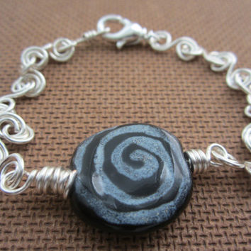 Black Kazuri - Kazuri Bead/Wrapped Wire Bracelet