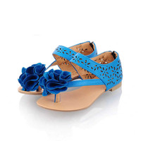 Wholesale Sweet gentle woman big flower toe-knob large size flat sandals Z-HSX-D-5 blue - Lovely Fashion