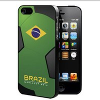 Brazil World Cup FIFA 2014 Professional Soccer Sports Team Rubber Silicone TPU Cell Phone Case (iPhone 5/5s)