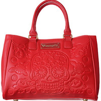 Crimson Filigree Skull Bag