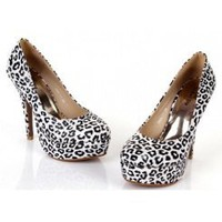 Wholesale 2012 spring new style leopard-grain waterproof increased pumps XD-DD1908-11 white - Lovely Fashion