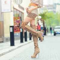 Wholesale Beautifying legs function high heel waterproof increased overknee boots Z-JQ039-11 apricot - Lovely Fashion