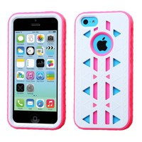Thousand Eight(TM) APPLE IPHONE 5C Aztec Armor Hybrid Phone Protector Cover + [FREE LCD Screen Protector Shield(Ultra Clear)+Touch Screen Stylus] (Aztec Ivory White/Electric Pink)