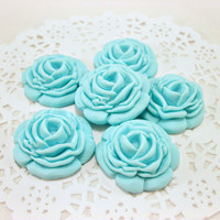 Sugar Flowers Blue Fondant Roses, Wedding Cake Fondant Cupcake Edible Topper, Bridal Shower Cupcake Decor, Flower Cupcake Topper- set  of 12