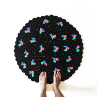 Round Crochet Mandala Rug - One of a Kind Black and Neon Rug Mat with Scallop Edge