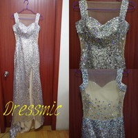 Sexy Sheath Sleeveless Long Prom Dress Sequined  Prom Dresses 2014 Short Trailing  Long Wedding Dresses