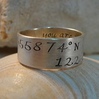 Latitude/Longitude Keepsake Ring PERSONALIZED by theprettypeacock