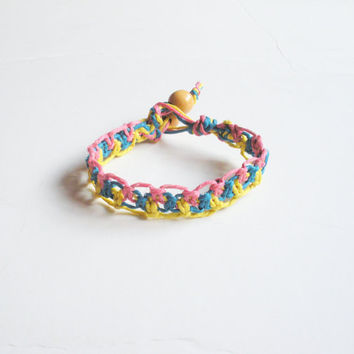 Lacy Tri Color Hemp Bracelet in Pink, Blue and Yellow, ready to ship. $10.00