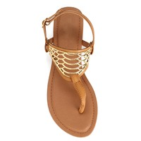 Camel Front Cage Sandals