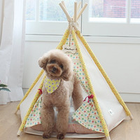 Yellow dog house, pet house, teepee tent indian tent