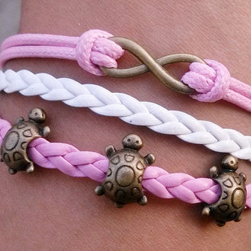 Bracelet--Tortoise bracelet,charm Bracelet in bronze,wax cords and braid leather bracelet,Friendship christmas Gift