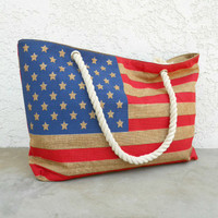 American Flag Rope Handle Tote [5601] - $24.00 : Vintage Inspired Clothing & Affordable Dresses, deloom | Modern. Vintage. Crafted.