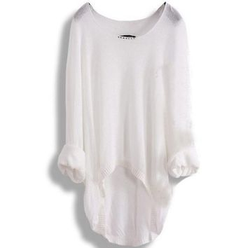 New Casual Batwing Loose T-shirt Asymmetric Waistcoat Pullover White
