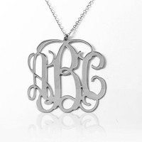 LARGE Monogram,  silver Monogram, High Quality Jewelry, High quality Monogram necklace, monogrammed silver necklace,  Initial Monogram