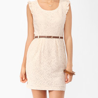 Lace Sheath Dress w/ Belt | FOREVER21 - 2000043446