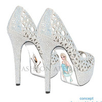 Custom hand painted Snow Queen high heels