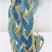 Blue and Gold Braided Chain Bracelet