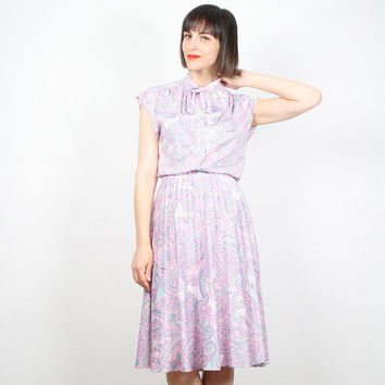 Vintage 1970s Outfit Skirt and Top Set Cap Sleeve Ascot Tie Blouse High Waisted Midi Skirt Secretary Dress Purple Pink Paisley S Small M