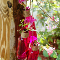 3 Colored Bottle Collection your color choice jute wrapped cascading bottles for patio decor, home decor, wall decor