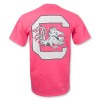 South Carolina Gamecocks Block C Palmetto Pocket T-Shirt - Hot Pink