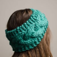 Teal Cable Knit Headband