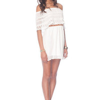 Catarina Off Shoulder Dress in Ivory :: tobi