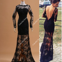 2014 Sexy Design Black Lace Overlay Deep V Back See Evening Dresses Prom Dresses/Lace Full Sleeves Dresses/Long Prom Gown A104