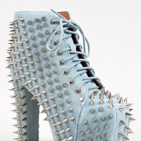 New JEFFREY CAMPBELL LITA Women Blue Denim Spike Stud Platform Heel Bootie Pump