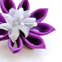 Purple Flower Hair Clip / Brooch / Bridesmaid Gift / Violet Kanzashi Flower Clip - Wedding Hair Flowers - Purple Hair Clip - Custom Colours