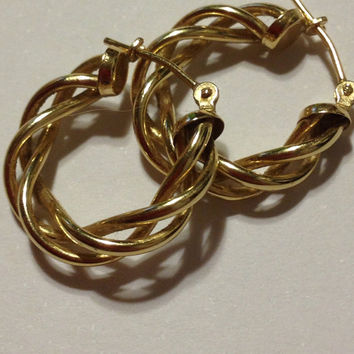 14K Gold Hoops Earrings 14KT Yellow Italy Italian Twisted Woven Thorn 1.8 Grams Modernist Vintage Jewelry Bridal Everyday Boho Prom Gift