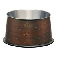 Loving Pets Artistic Antique No-tip Dog Bowl, 12-Ounce, Antique Copper