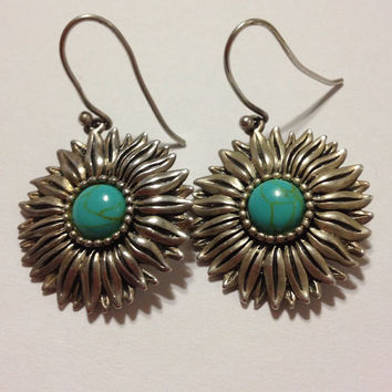 Turquoise Sterling Sunflower Earrings 70s Silver Flowers Floral 925 Blue Vintage Genuine Stones Tribal Southwestern Boho Country Jewelry