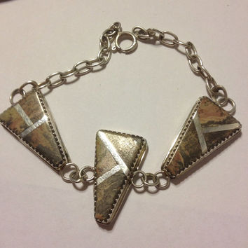 "Navajo Jasper Bracelet Sterling Silver Lee Brown LB 7.25"" Inlay Vintage 925 Jewely Stone Tribal Southwestern Native American USA Indian Gift"